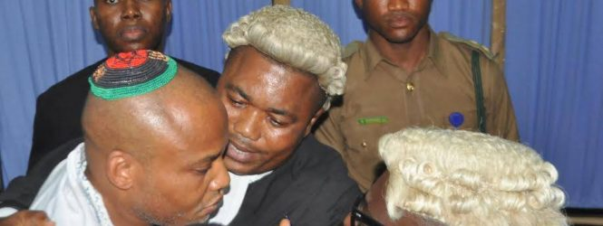 Nnamdi Kanu: [PICTURES] Secret trial enforced and Justice thwarted.